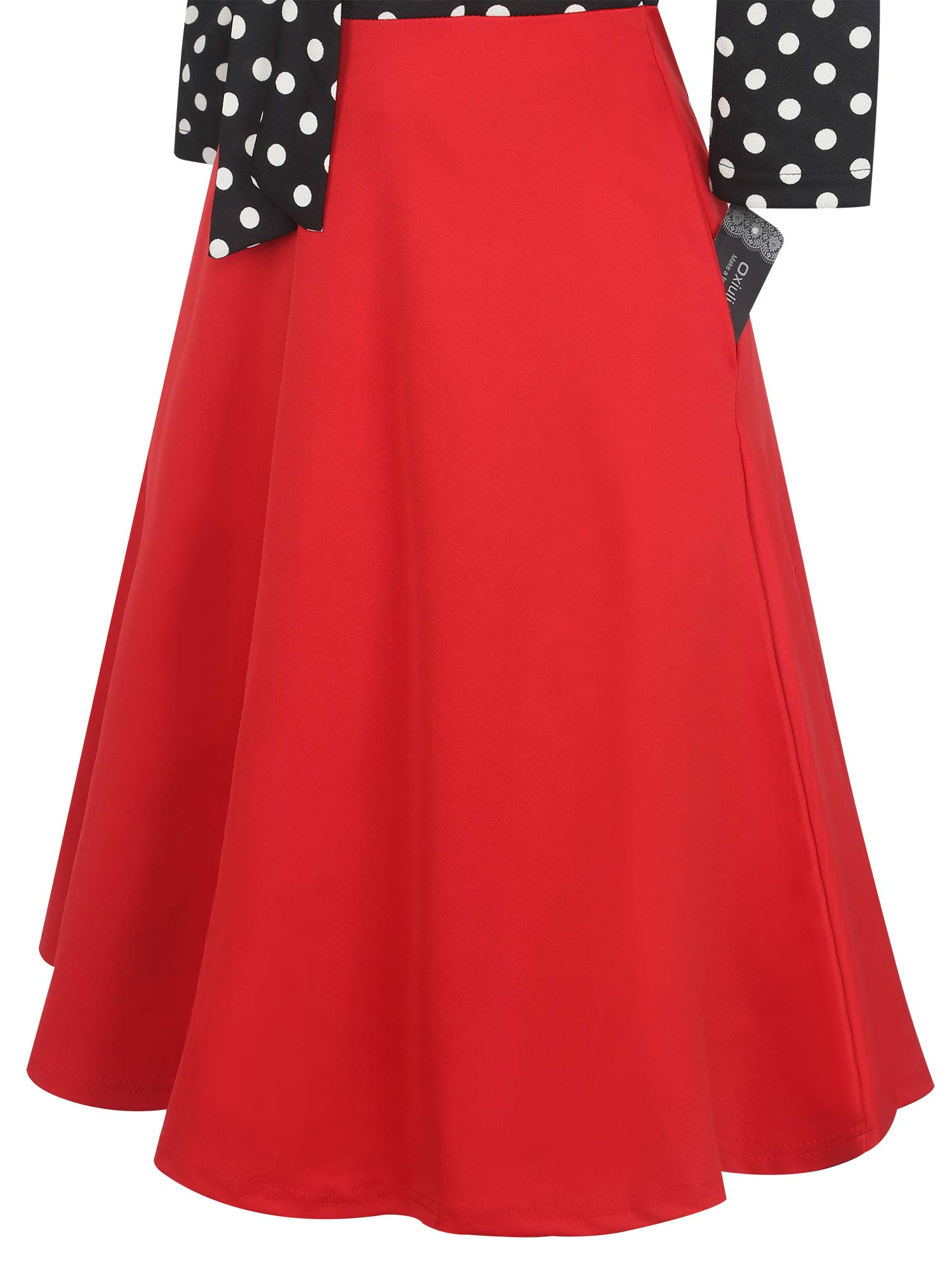 oxiuly-Womens-Vintage-Bow-Tie-V-Neck-Pockets-Casual-Work-Party-Cocktail-Swing-A-line-Dresses-OX278