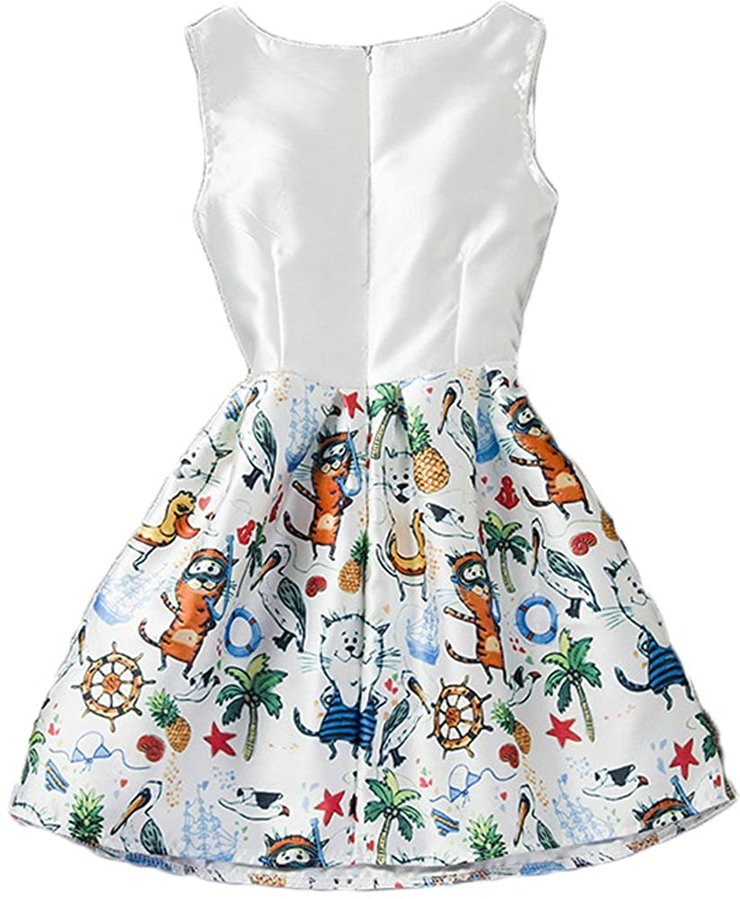 Shiny Toddler Little/Big Girls A Line Bird's Printing Flower Girl Birthday Dress 5-8t