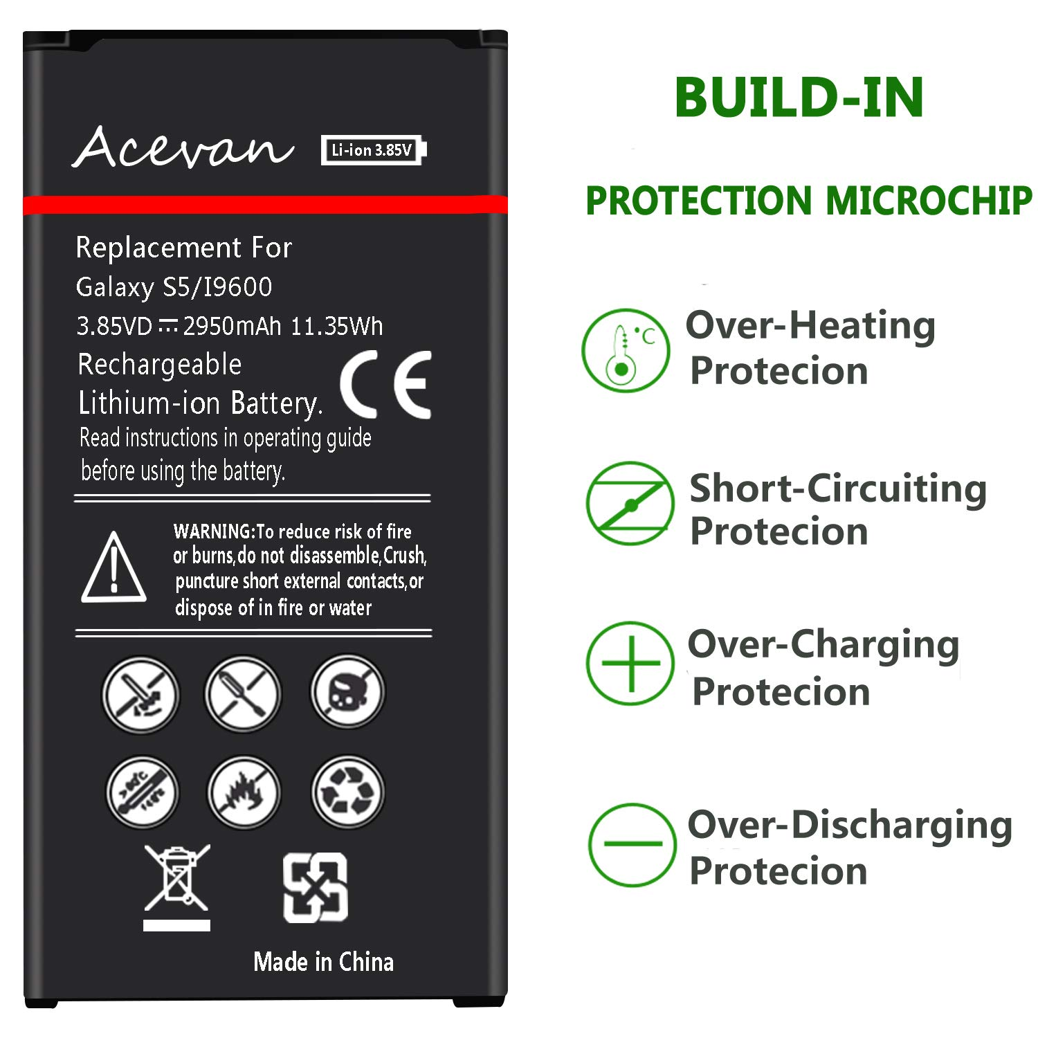 Galaxy S5 Battery Acevan 2950mAh Li-ion Battery Replacement for Samsung Galaxy S5, Verizon G900V, Sprint G900P, T-Mobile G900T, AT&T G900A, G900F, G900H, G900R4, I9600 [3 Year Warranty] by Acevan (Image #5)