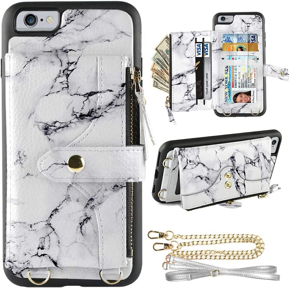 LAMEEKU Wallet Case Compatible with iPhone 6, iPhone 6s Wallet Case Zipper Case with Wristlet Crossbody Strap Card Holder Leather Case for iPhone 6/6s, 4.7 inches-White Marble