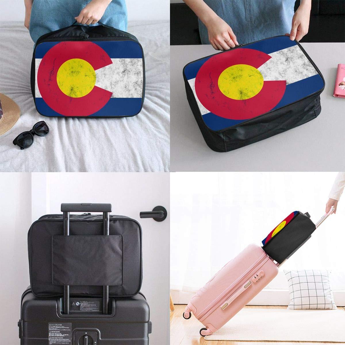 YueLJB Colorado Flag Grunge Lightweight Large Capacity Portable Luggage Bag Travel Duffel Bag Storage Carry Luggage Duffle Tote Bag