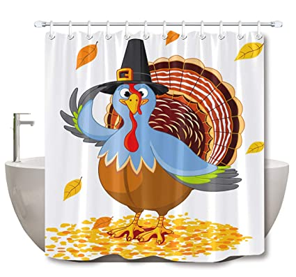 LB Custom Thanksgiving Turkey Shower Curtain With Pilgrim Hat Maple Leaves Bathroom DecorWaterproof