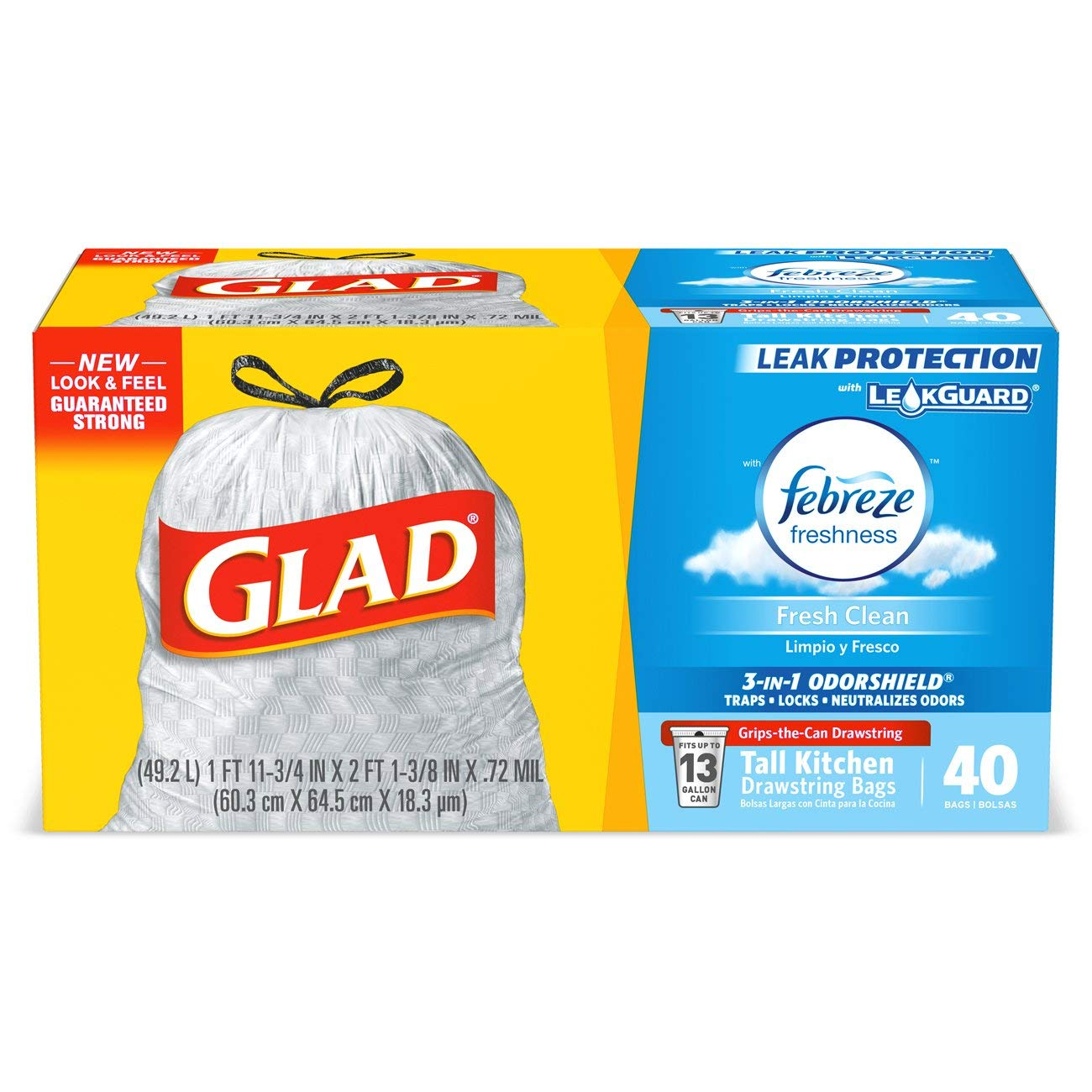 Glad Tall Kitchen Drawstring Trash Bags - OdorShield 13 Gallon Grey Trash Bag, Febreze Fresh Clean - 40 Count