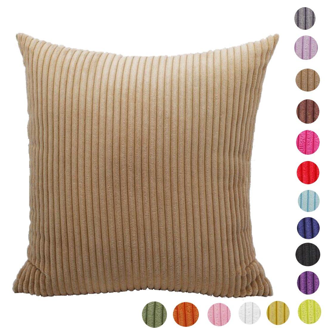 AOZHOME sólido grandes grosor de rayas pana funda para cojín decorativo para sofá disponible en 17 colores y 10 tamaños