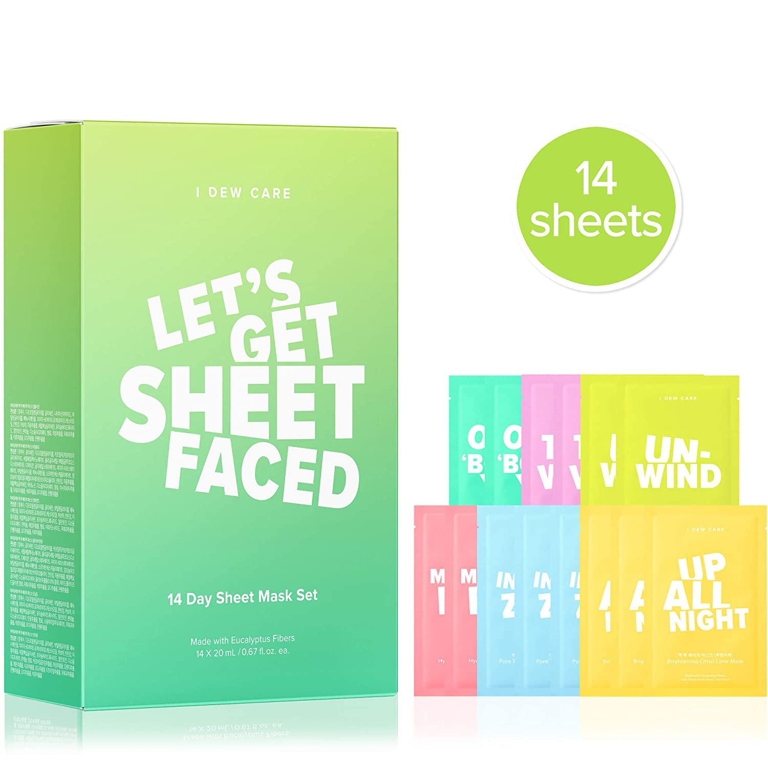 I DEW CARE Let's Get Sheet Faced Face Mask Pack | Set of 14 Sheet Masks | Korean Skincare, Beauty Gift Set, Facial Treatments, Cruelty-Free, Paraben-Free