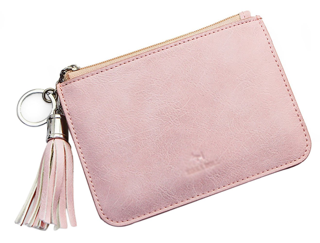 Skyflying Artificial Leather Slim CreditWallet Key Card Packet with Key Ring and ID WindowPractical Mother's Day Gift Macarons Color (pink)
