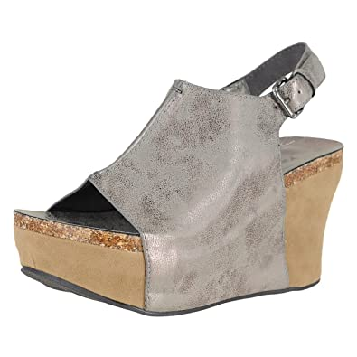 a416e04fe1e4 Pierre Dumas Hester-14 Pewter Womens Wedge Sandals Size 7M
