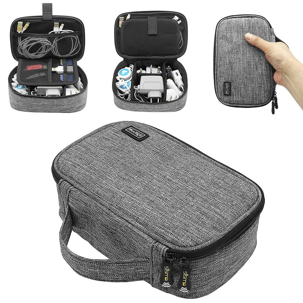 Sisma Travel Cords Organizer Universal Small Electronic Accessories Carrying Bag for Cables Adapter USB Sticks Leads Memory Cards Grey 1680D-Fabrics SCB17092B-OG