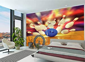 LCGGDB Bowling Party Wall Stickers Murals,Moment of Crash Paperhanging Wallpaper for Office Livingroom Girls Bedroom Family Wall Decals-118x83 Inch