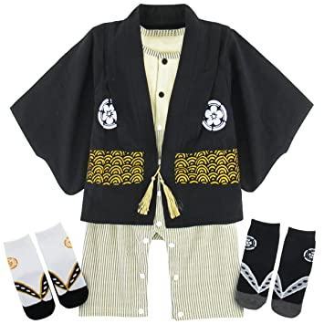 d616c8ef2835f BECOS ベビー 男の子 袴 ロンパース 100日祝い 出産祝い 靴下付き (ブラック
