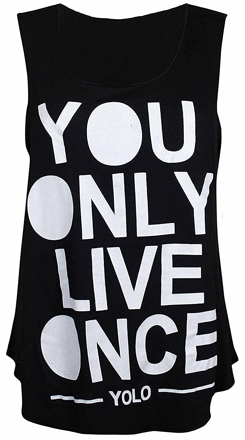 cf4eaf6c mix_lot Womens Yolo Gold Slogan You Only Live Once Print Ladies Sleeveless  Scoop Neck Stretch T-Shirt Vest Top casual 8-14: Amazon.co.uk: Clothing