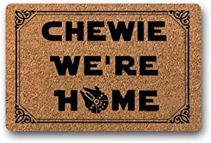 "BXBCASEHOMEMAT Chewie We're Home Doormat - Star Wars Welcome Mat 18"" x 30"""