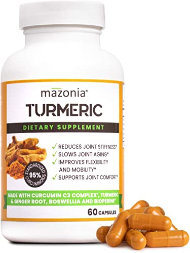 Organic Turmeric Curcumin C3 Complex Turmeric Curcumin with Bioperine Joint Inflammation Supplements Bioperine Black Pepper, Boswellia, Ginger 95 Standardized Curcuminoids 60 Capsules