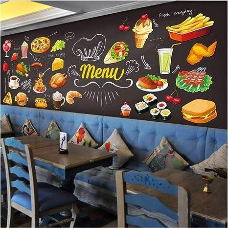 Pizarra Graffiti Comida Mural Papel tapiz Pastelería Café ...