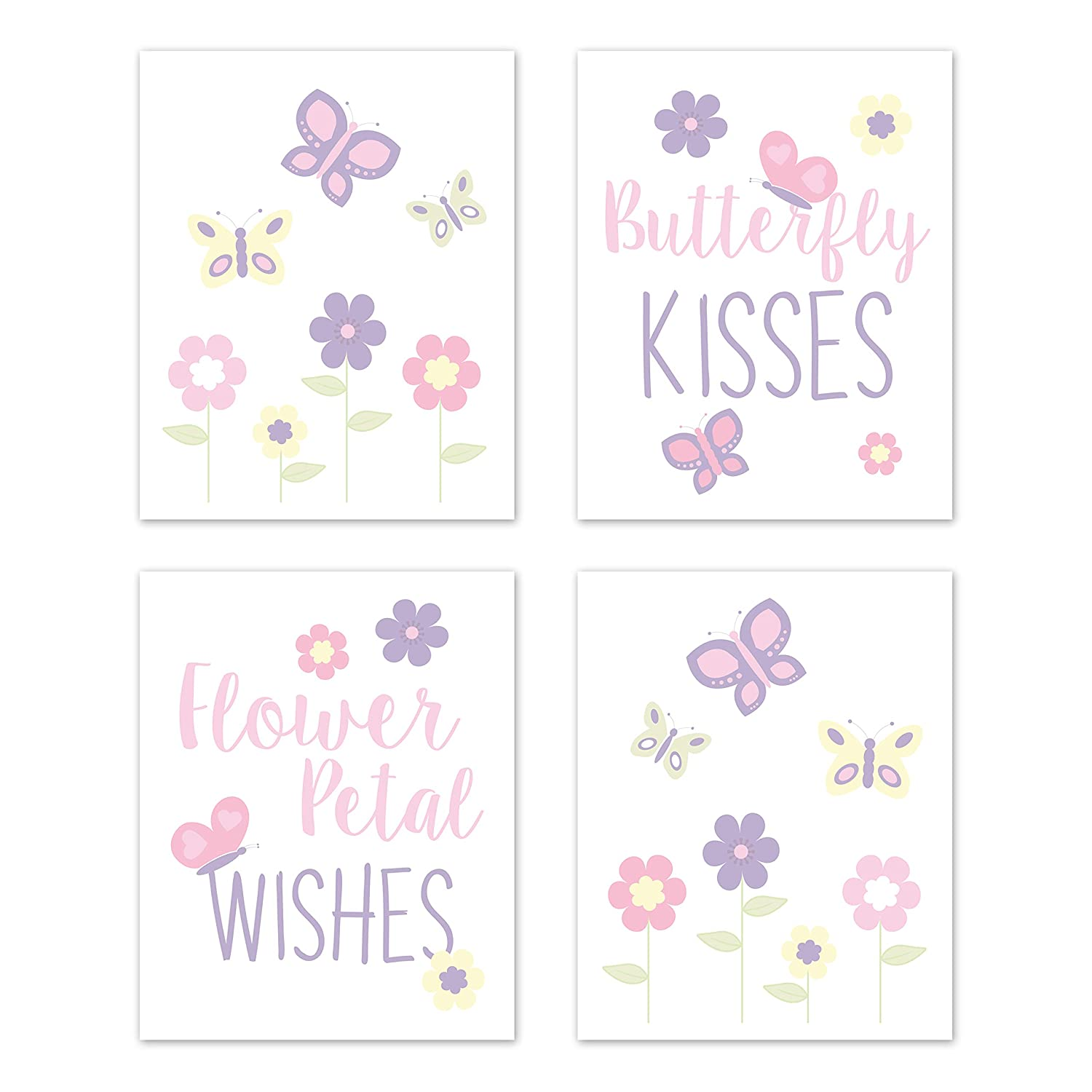 Sweet Jojo Designs Butterfly Wall Art Prints Room Decor for Baby, Nursery, and Kids - Set of 4 - Pink and Purple Floral Flower Garden Kisses and Wishes