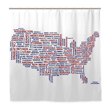 Amazoncom Niomhdos America City Map Polyester Fabric Shower