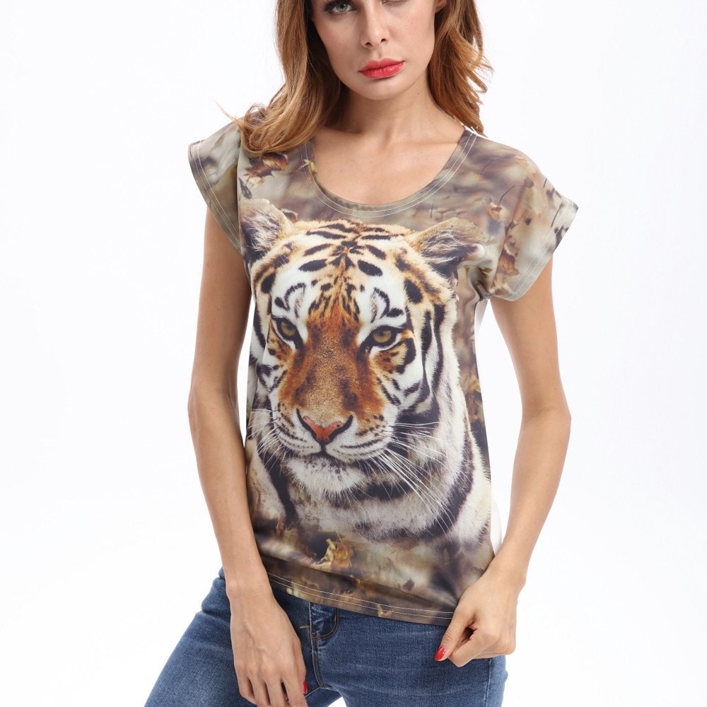 bc0a19e9 Ulanda-EU Womens Tops Ladies Short Sleeve 3D Tiger Printed T Shirts Casual  Loose Blouse Summer Tunics Crop Tops Clothes for Women Teen Girls:  Amazon.co.uk: ...