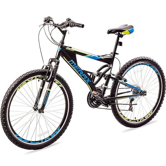 f3e04ba060f Amazon.com : Merax Falcon Full Suspension Mountain Bike Aluminum Frame 21- Speed 26-inch Bicycle (Black and Blue) : Sports & Outdoors