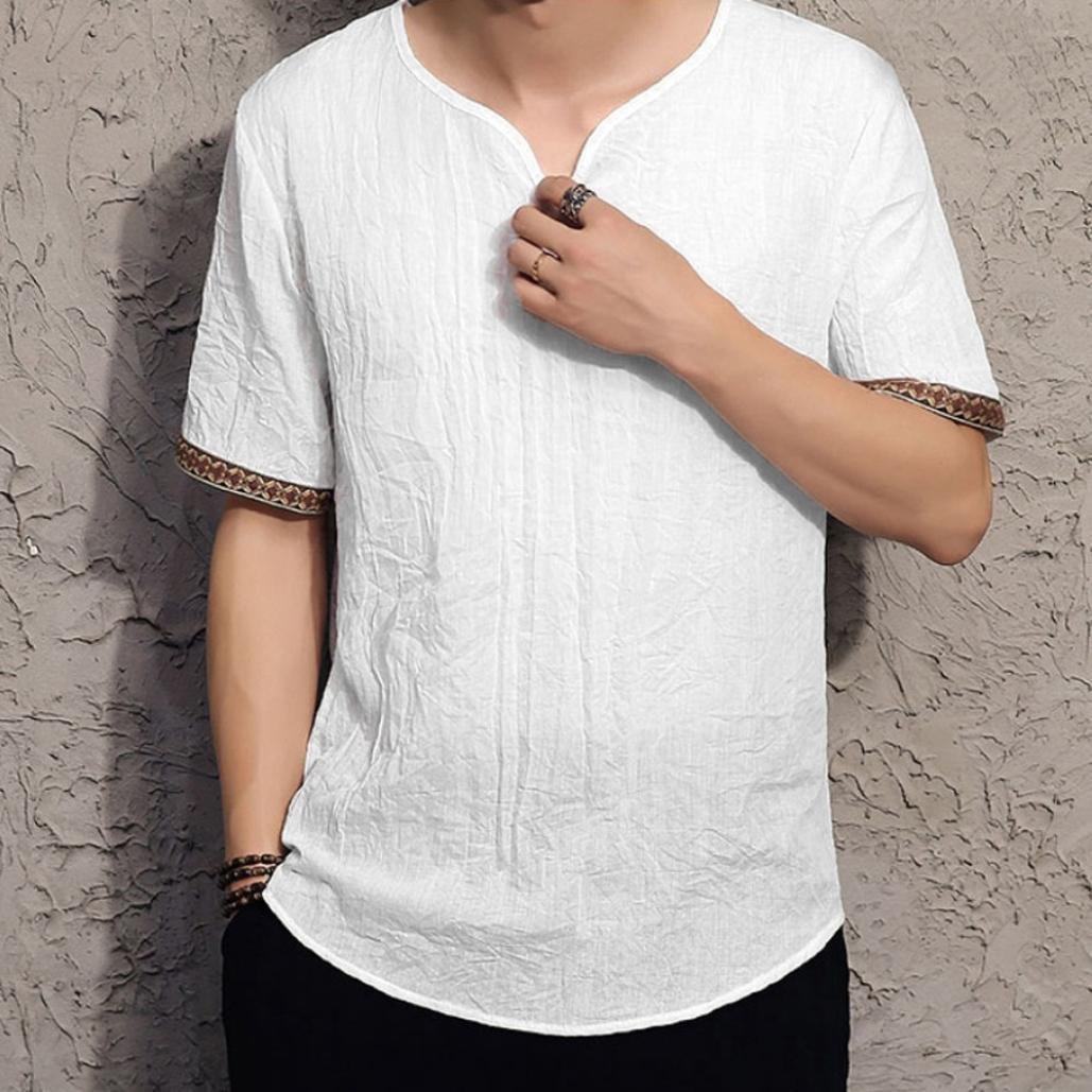 Camisas de lino tradicionales para hombres Blusas sueltas con cuello en V de manga corta casual Blusa suelta camisetas hombre manga corta☆Longra: ...