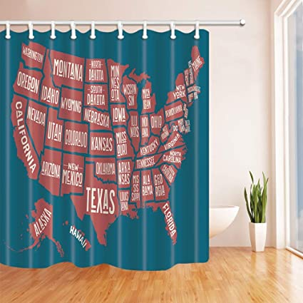 Amazon.com: Nyngei United States Map Shower Curtains for ... on united states map high resolution, united states map tumbler, united states map pillow, united states map large wall, united states map quilt, united states map fabric, united states map rug, united states map clock, united states military armed forces, united states map art, united states map placemat, united states map food, united states map comforter, united states map with rivers, united states map wallpaper, united states map with landmarks, united states map wall mural, united states map zoom in, united states map rhode island, united states map decor,