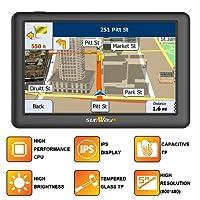 5-Zoll-Auto GPS-Navigation SAT NAV mit IPS & hohe Helligkeit (unter Sonnenlicht in jeder Richtung gesehen) kapazitive Touch-Panel UK & Full Europa Karte für Auto & LKW täglichen Gebrauch Reisen (8 GB)