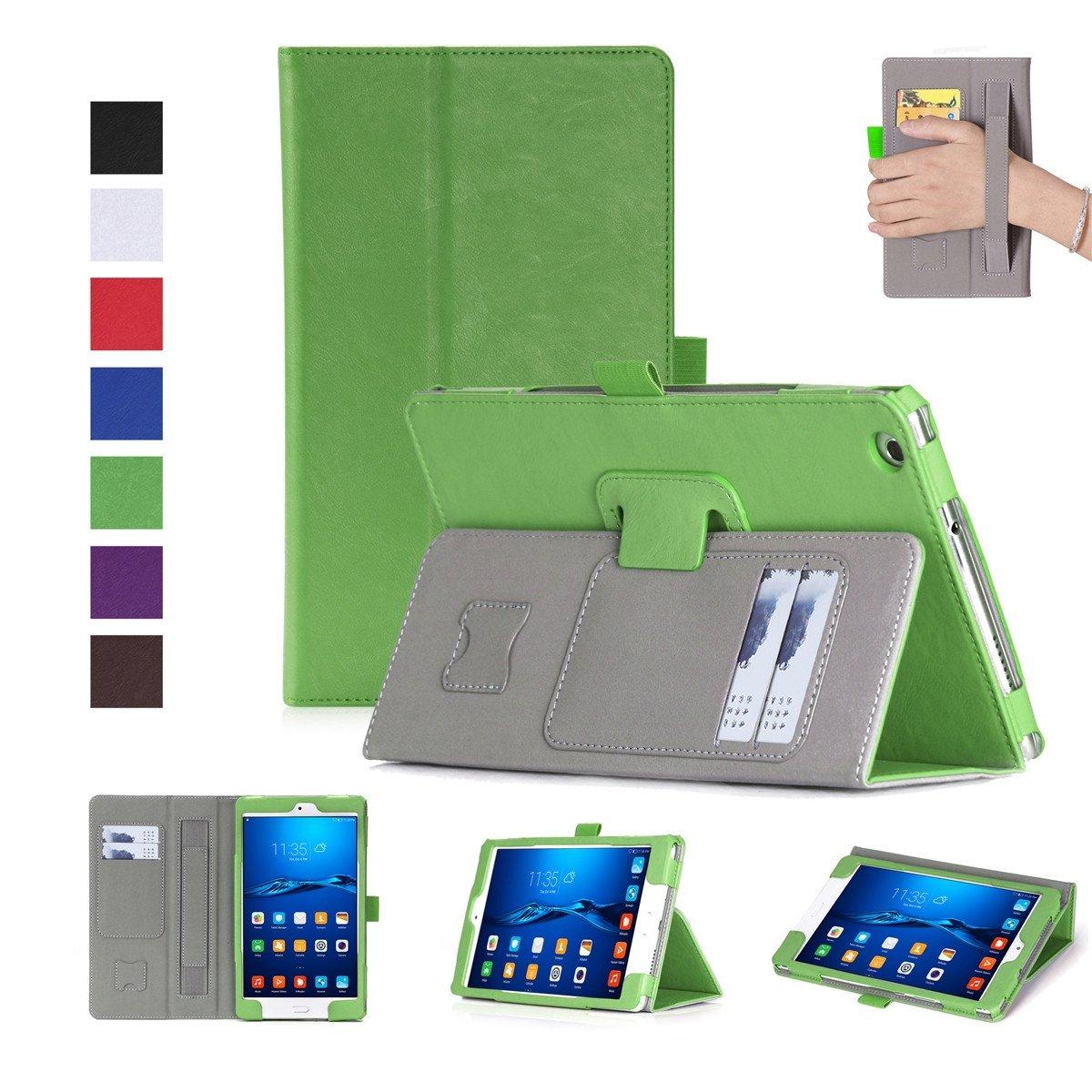 FugouSell Huawei MediaPad M3 Lite 8.0ケース プレミアムPUレザー[フリップスタンド] スリム財布ケース フルボディ保護カバー Huawei MediaPad M3 Lite 8.0用 (グリーン)   B07LCHD2DK