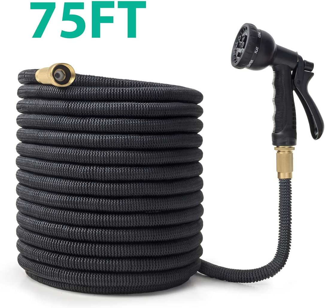 "OWSOO Garden Hose, 75 FT Water Hose with 3/4"" Solid Brass Fittings, Durable Flexible Garden Hose with Double Latex Core, 8 Functions Sprayer, Extra Strength Fabric, Expandable Hose for Gardening"