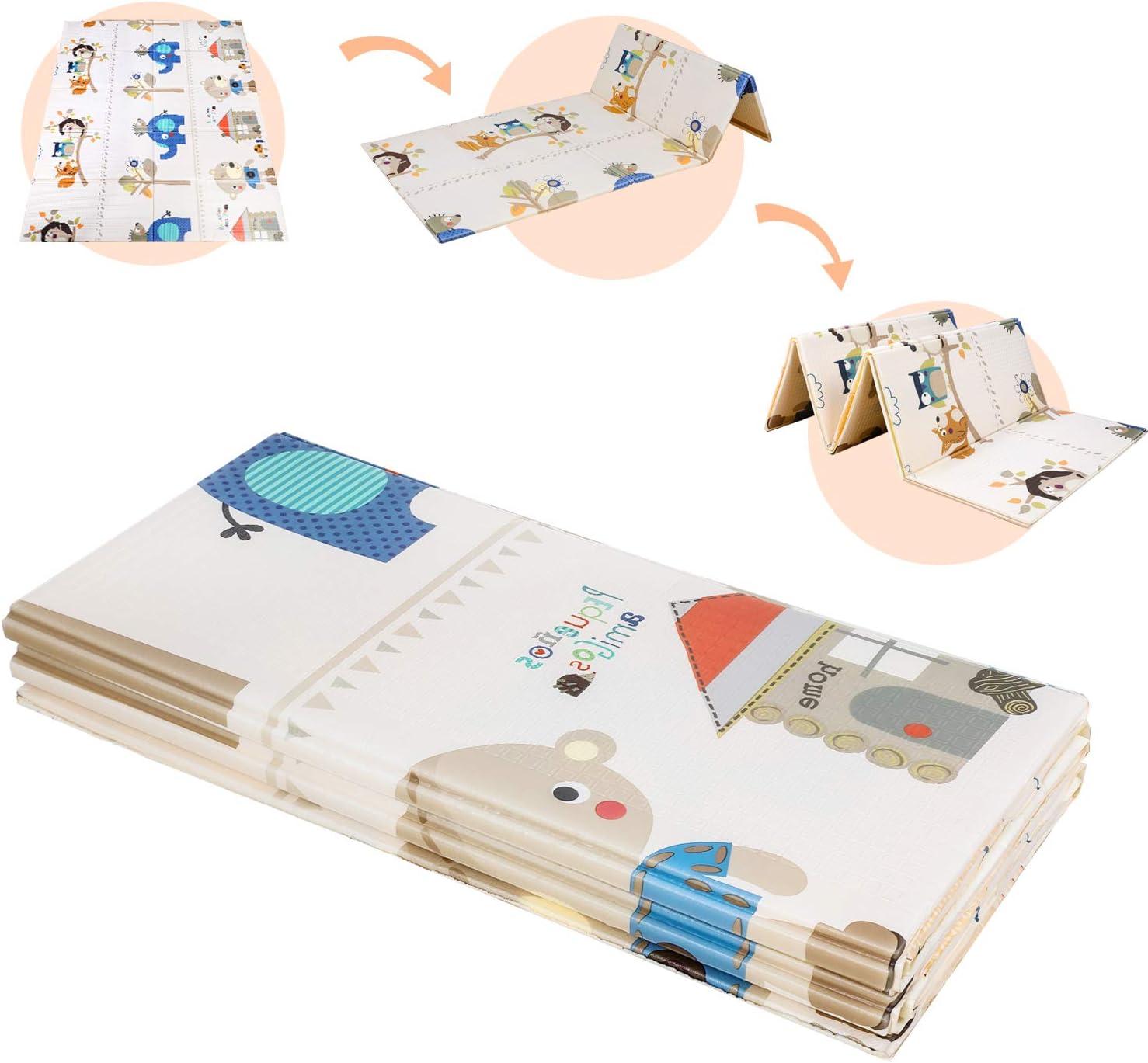 Tapis de jeu b/éb/é 0 m + tapis de jeu pour b/éb/é ext/érieur transportable tapis de jeu en mousse pour b/éb/é Monde oc/éanique Leogreen