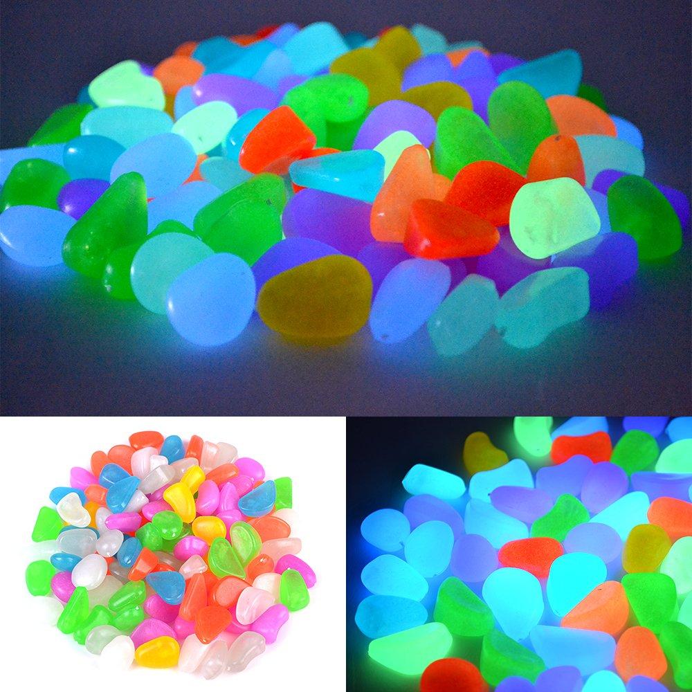 100x Cailloux Pierres Galet Lumineux Glow in Dark Pour Jardin Piscine Cour Sentier Aquarium Décoration Rayinblue