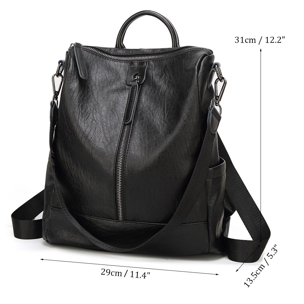 f597304ef0 Toupons Borsa a tracolla zaino in pelle morbida moda donna PU Daypack  (nero): Amazon.it: Valigeria