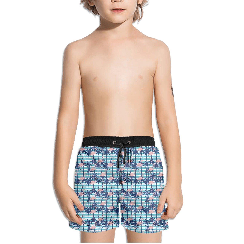 Trum Namii Boys Quick Dry Swim Trunks Coconut Tree Pink Flamingo Gift Shorts