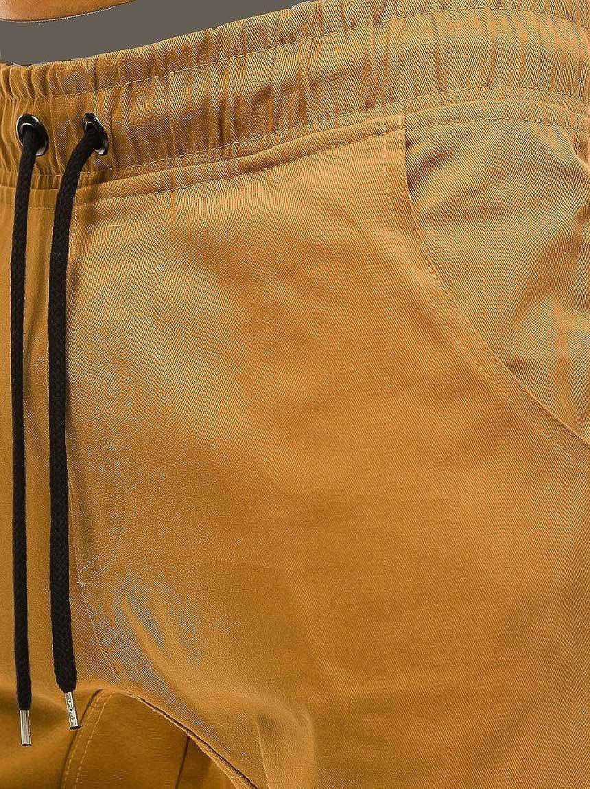 Mfasica Mens Beam Foot Fitted Drawstring Haren Pants Elastic Waist Casual-Pants