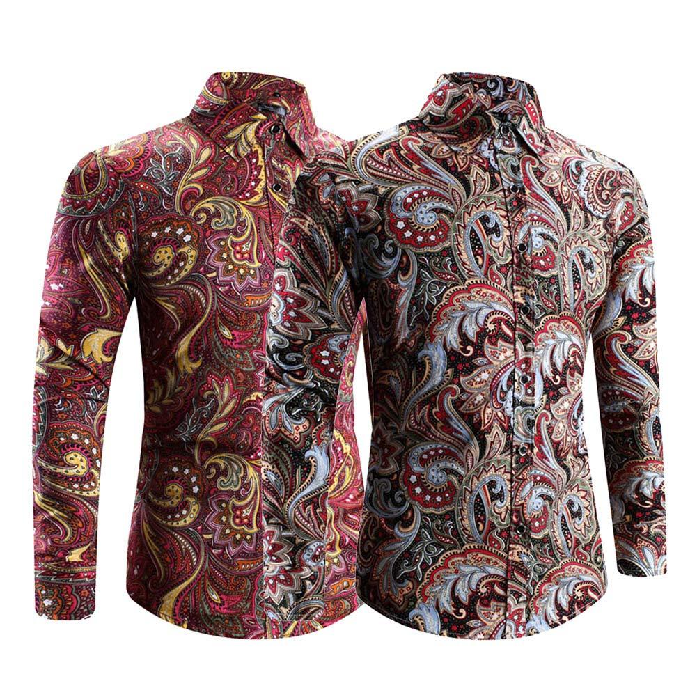 Starlit Spring Autumn Men All-Match Floral Print Turn Down Collar Long Sleeve Shirt Slim Fit Top Black+Red L
