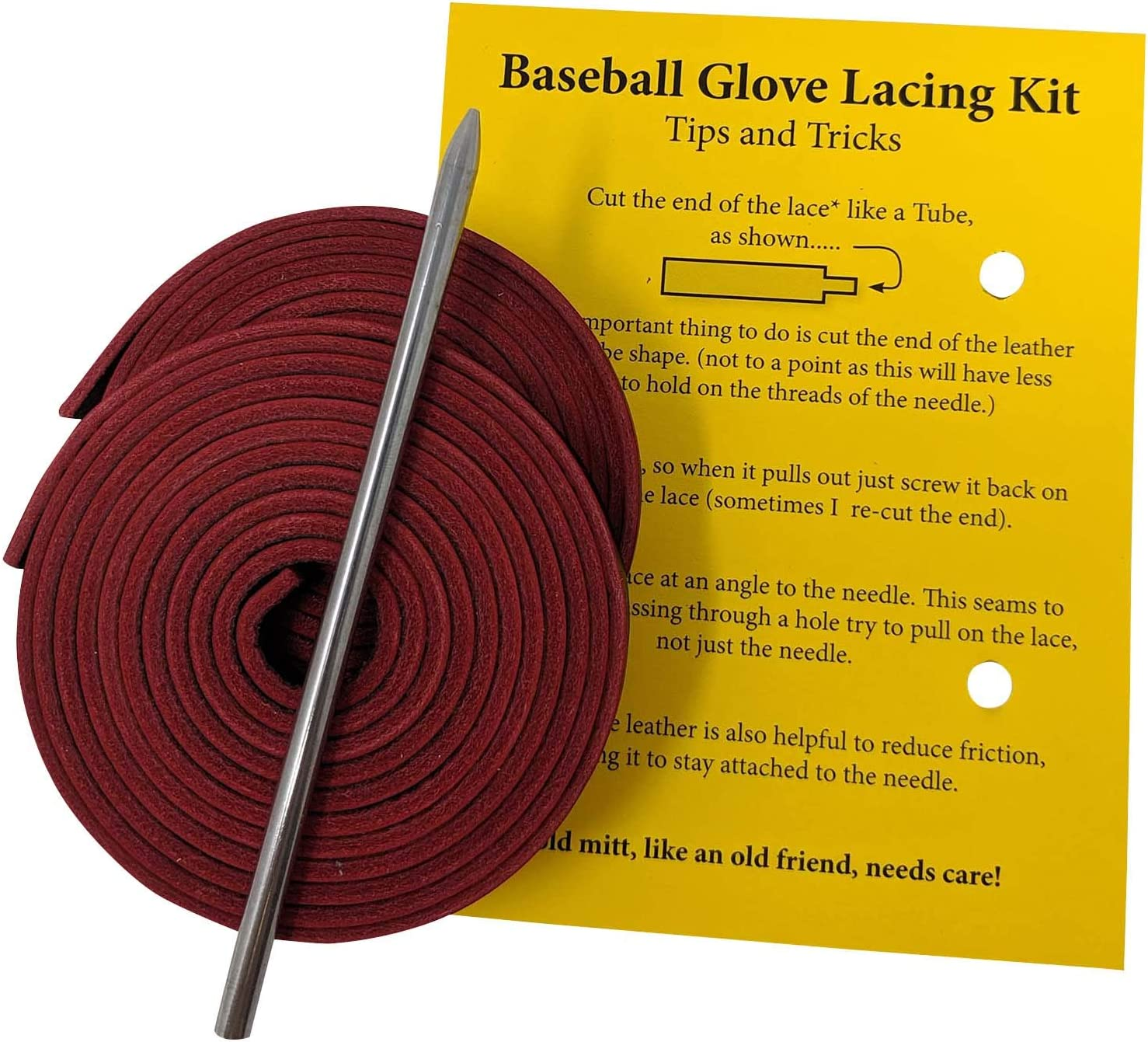 TOFL Highland Group 2 Leather Laces Leather Lacing Needle Baseball and Softball Glove Lace Kit