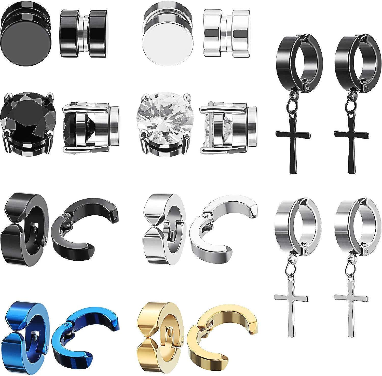 10 Aretes Magnéticos Pendientes Magnéticos de Acero Inoxidable, Pendientes de Aro de Colgante de Aro Cruzados sin Perforaciones Clip de Medidores Unisex en Pendiente Negro Juego