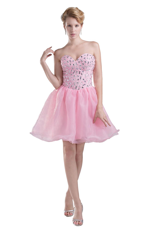 Dresstells Damen Kleid Kurz Organza Herzförmig Cocktailkleid Abiballkleid mit Schmucksteinen