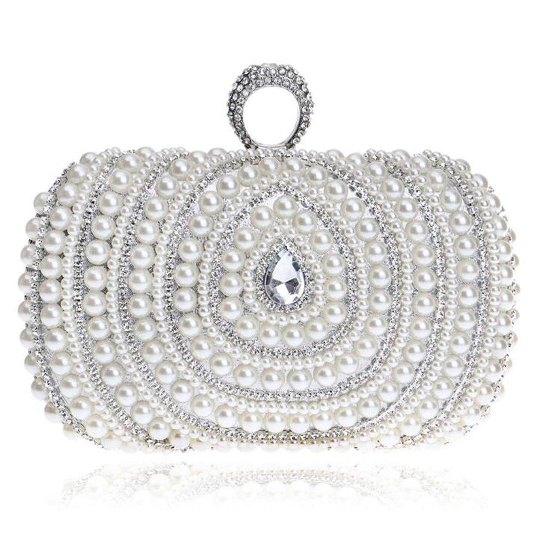 EPLAZA Women Rhinestone Beaded One Ring Evening Clutch Bags Handbags Bridal Wedding Party Purse (A)