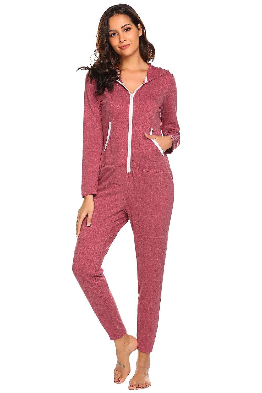 561e343a1a Ekouaer Onesies Thermal Underwears Christmas Union Jumpsuit One Piece Pajama  Hooded Sweatshirt Sleepwear for Women EKV007138