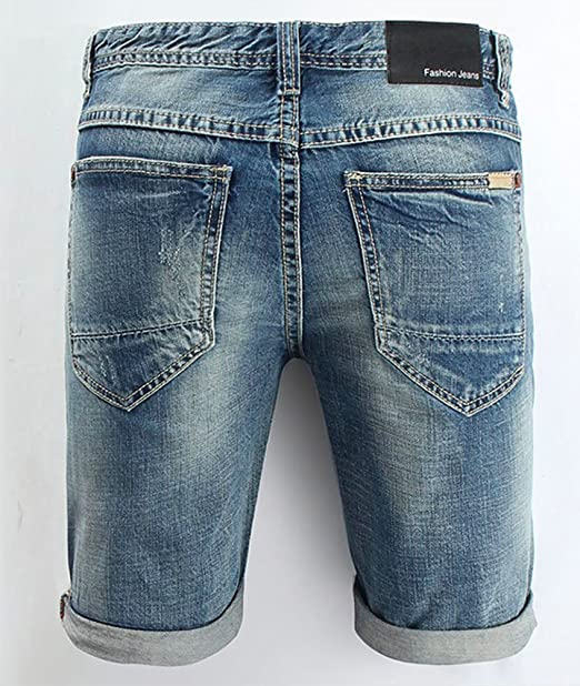 8f9e75bc85406 Liangpin Men s Ripped Denim Shorts Distressed Jeans Light Washed at Amazon  Men s Clothing store