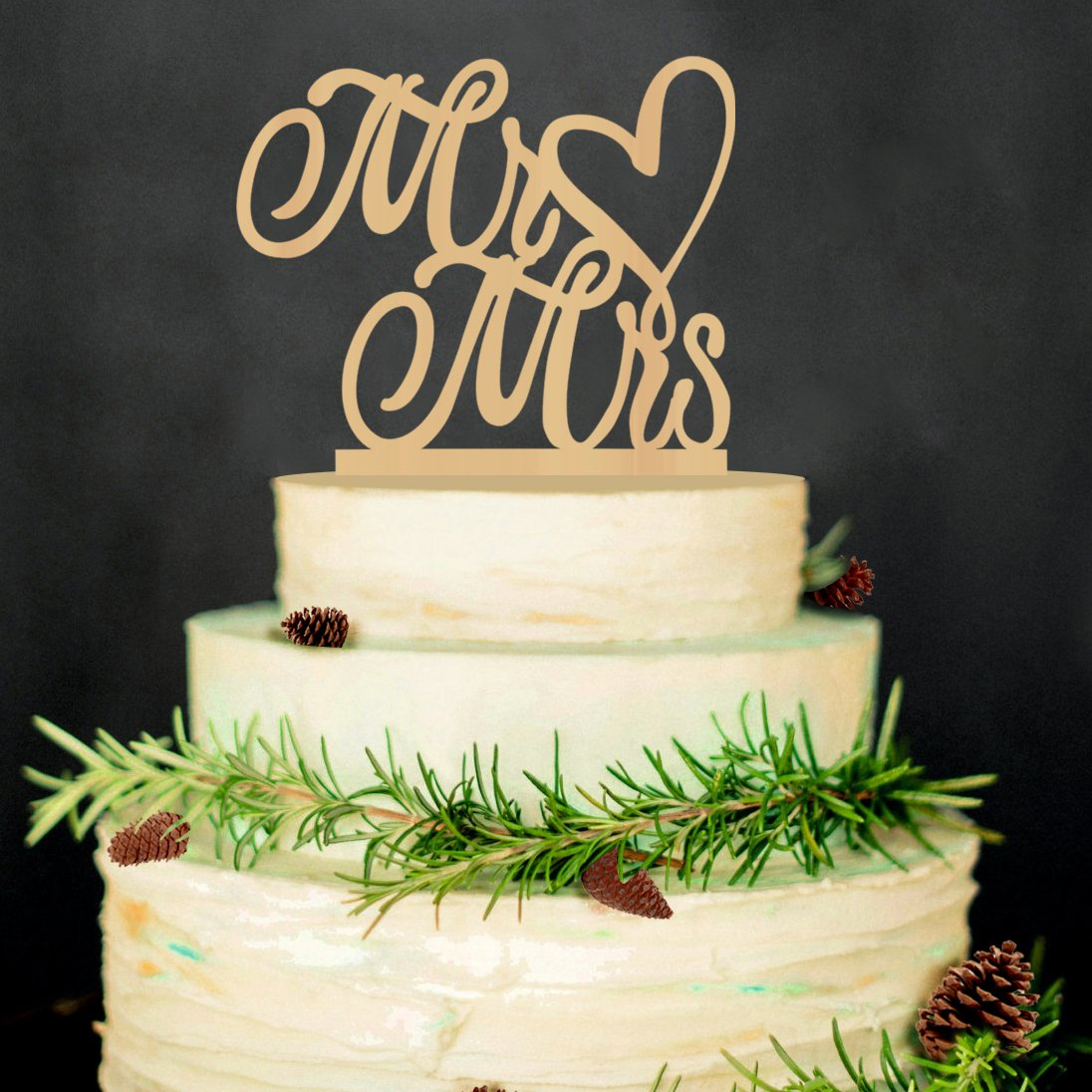 Mr and Mrs wedding Cake Toppers Heart Rustic Wood For Wedding Aniversary Party Engagement Decoration