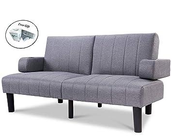 Futon Sofá Cama Convertible Lino tapizado sofá sofá Cama ...