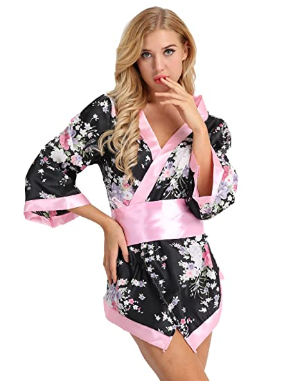 FEESHOW Women s Sexy Japanese Kimono Cosplay Costume Satin Floral Deep V Robe  Dressing Gown Black   11fc8b316