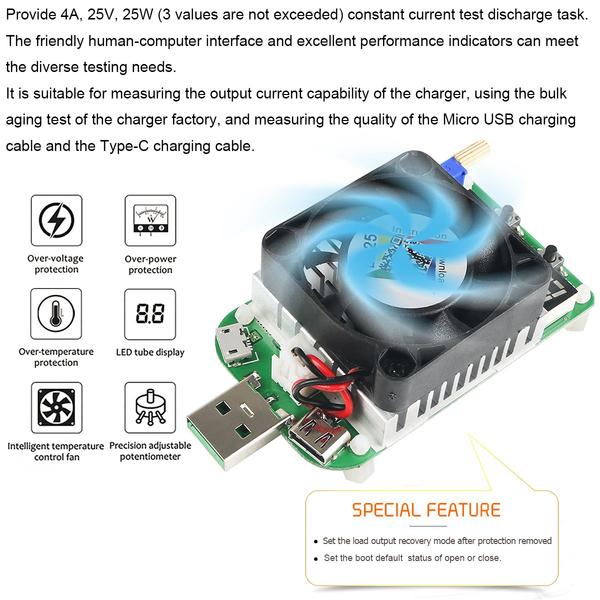Makerhawk Usb Load Tester Electronic Resistor Module 25w For More Detail Circuit Provides Constantcurrent Testing Ld25 Interface Discharge Adjustable Constant Current Intelligent Temperature