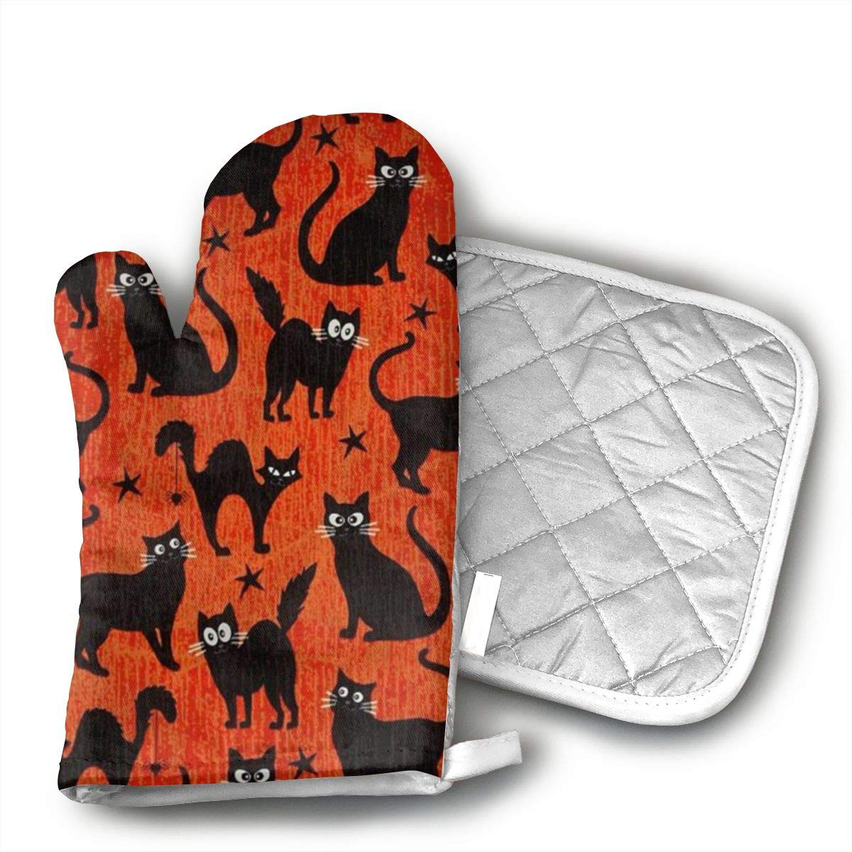 VFSFJKBG Fangtastic Glow in The Dark Black Cats Orange Oven Gloves, High Heat Resistance, Machine Washable High Heat Resistant Polyester Filling for Thanks Giving, Christmas