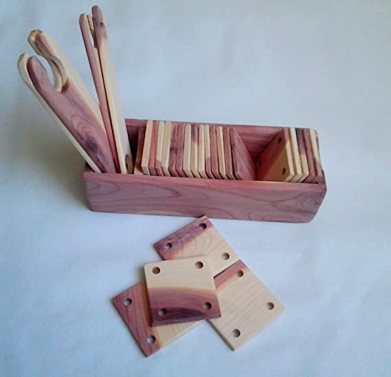 2X2 In Pack of 24 Aromatic Red Cedar weaving cards with storage box shuttles.