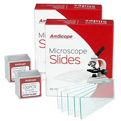 AmScope 144diapositivas en blanco limpiadas previamente y 200 portaobjetos cuadrados de cristal de 22 x 22 mm para microscopio: Amazon.es