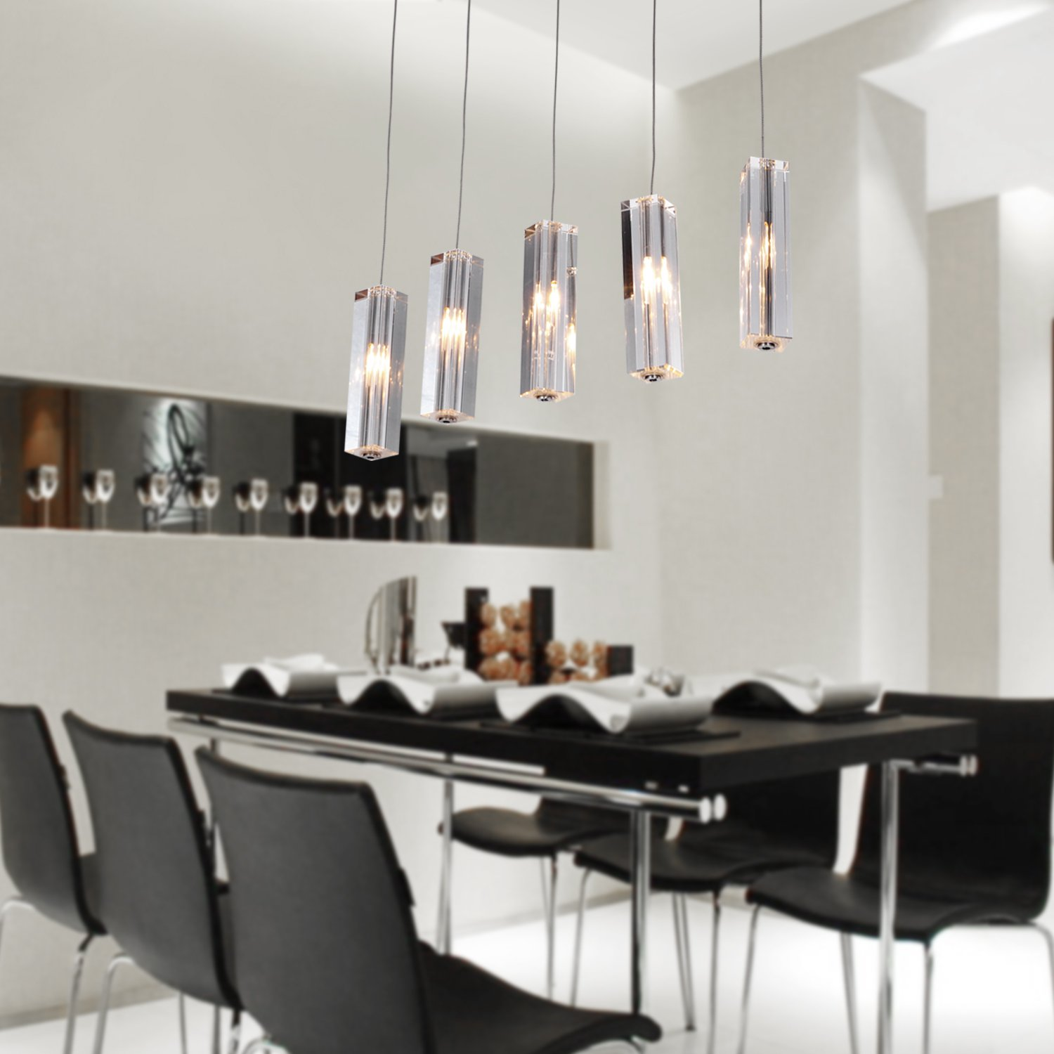 LightInTheBox Stainless Steel 5 Light Mini Bar Pendant With K9 Crystal Drop Island Lights Ceiling Fixture For Dining Room