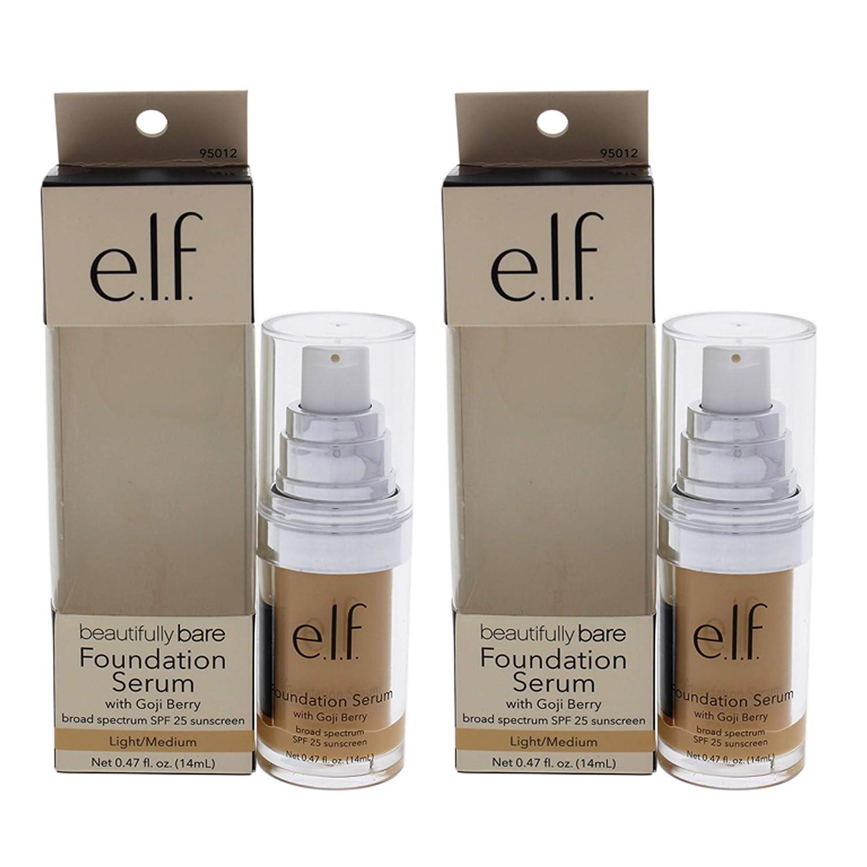 Beautifully Bare Foundation Serum SPF 25 - Light-Medium by e.l.f. for Women - 0.47 oz Foundation - (Pack of 2)