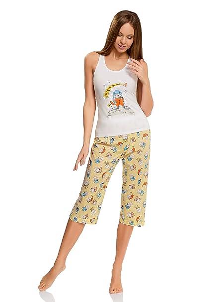 oodji Ultra Mujer Pijama con Pantalones y Estampado Gato, Blanco, ES 36 / XS