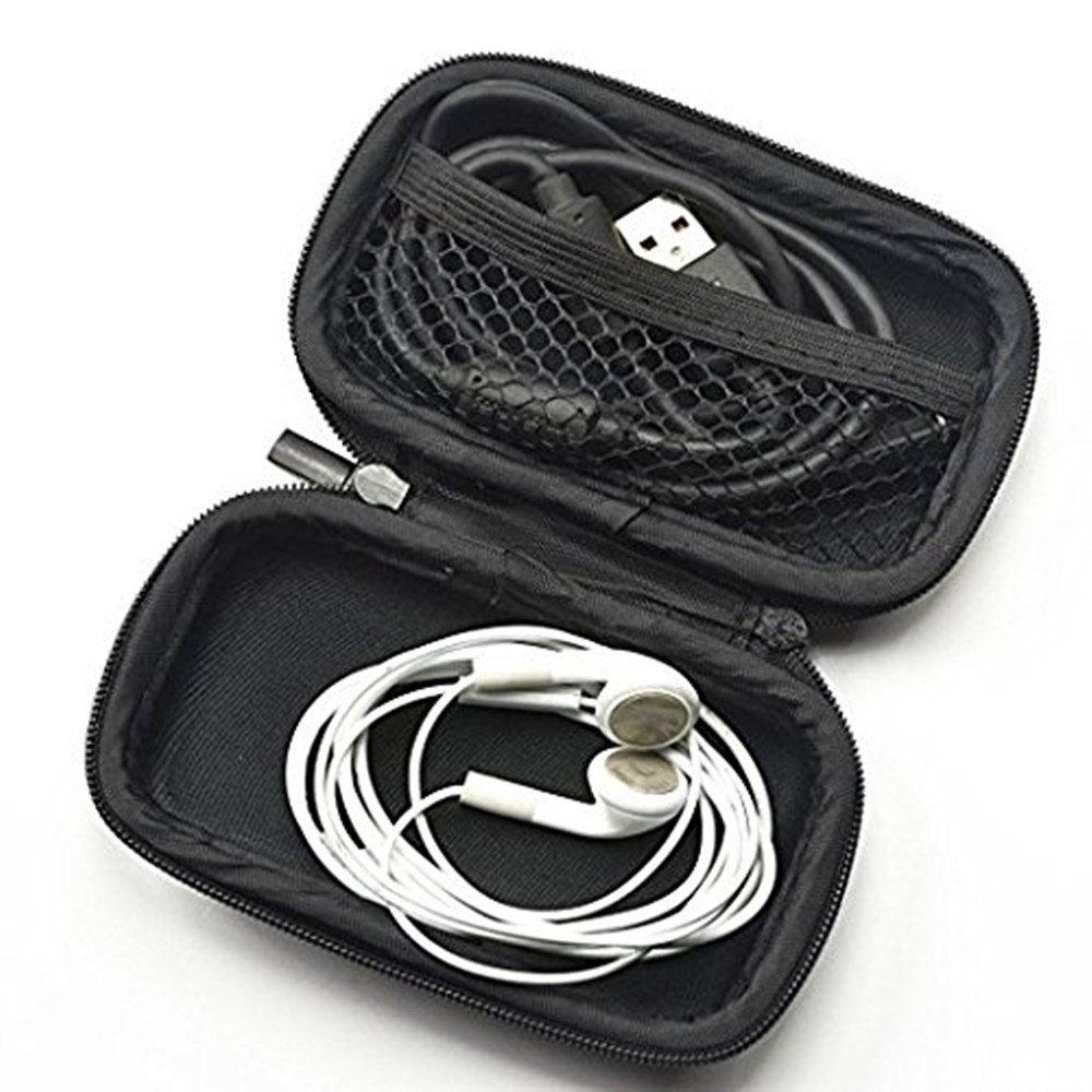 Black DierCosy Portable Earphone Storage Bag Case with Climbing Carabiner For travel Outdoor Climbing Accessories